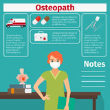 Female osteopath and medical equipment icons. Female character of osteopath and medical equipment icons with infographics elements for medical and pharmaceutical Royalty Free Stock Photos