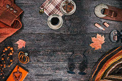 Female outfit with coffee and chocolate Stock Images