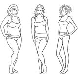 Female outlines with different figures Royalty Free Stock Photo