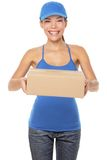 Female package delivery person Stock Images