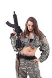 Female paintball player Stock Image