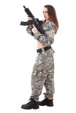 Female paintball player Stock Photo