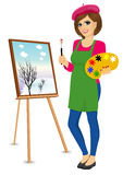 Female Painter Artist Holding Palette And Brush Stock Photos