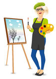 Female Painter Artist Holding Palette And Brush Stock Image