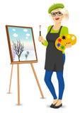 Female painter artist holding palette and brush Stock Image