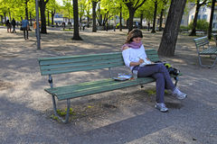 Female painter draws in Zurich, Switzerland. Royalty Free Stock Photo