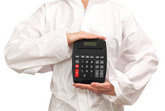 Female painter holding a calculator royalty free stock photo