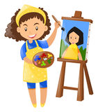 Female painter painting on canvas. Illustration Royalty Free Stock Photos