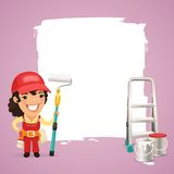 Female Painter With Text Box Stock Photo