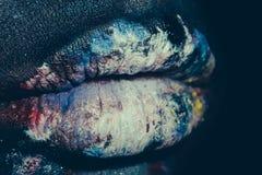 Female paited lips Stock Images