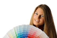 Female with palette Royalty Free Stock Photography