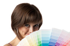 Female with palette Stock Images