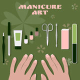Female palms and a set of tools and accessories for manicure and nail polishes Stock Photo