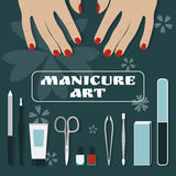 Female palms and a set of tools and accessories for manicure Royalty Free Stock Photography