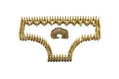 Female pants drawing with yellow avarage galvanized screws isolated on white background Royalty Free Stock Photo