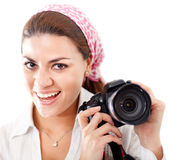 Female paparazzi Royalty Free Stock Image
