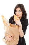 Female paper bag bread Stock Photos