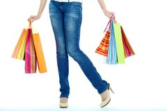Female with paperbags Stock Images