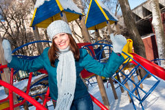Female in the park in winter Royalty Free Stock Photos