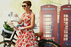 Female participant of cycle parade Lady on Bicycle Royalty Free Stock Images