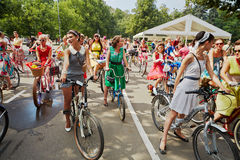 Female participants of cycle parade Lady on Bicycle Royalty Free Stock Photo