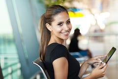 Female passenger airport Stock Photo