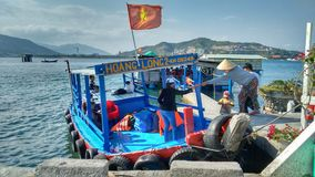 Female Passenger Boarding Tourist Boat Nha Trang Vietnam royalty free stock photos