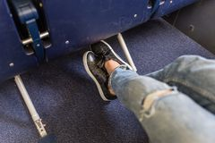 Airplane seats with more leg space for comfortable flight. Royalty Free Stock Photography