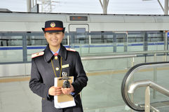 Female passengers clerk Stock Photos