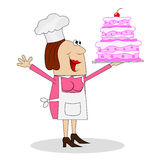 Female pastry chef with cake in hand Royalty Free Stock Photo