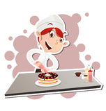 Female pastry chef. Vector illustration of cartoon female pastry chef decorating cake. EPS 10 Stock Photos
