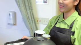 Female Patient Being Served Meal In Hospital Bed stock video