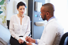 Female Patient And Doctor Have Consultation In Hospital Room royalty free stock photo