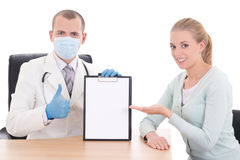 Female patient and doctor holding folder with copyspace Royalty Free Stock Image
