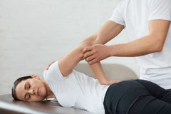 Post traumatic rehabilitation, sport physical therapy, recovery concept stock photo