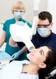 Female patient examined dental x-ray Royalty Free Stock Photos