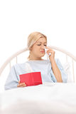 Female patient lying in a hospital bed and crying Royalty Free Stock Photos