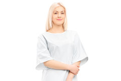 Female patient posing in a hospital gown Royalty Free Stock Image