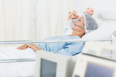 Female patient receiving artificial ventilation Royalty Free Stock Photo