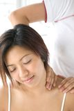 Female patient receiving shoulder massage