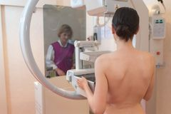 Female patient undergoing mammogram in clinic. Female patient undergoing a mammogram in a clinic Stock Image