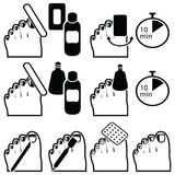 Female Pedicure and  gel hybrid titanium  nails preparation for varnish removal with different methods such as soak-off , foil wra. P icons set in black and Royalty Free Stock Photos