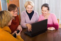 Female pensioners with laptop indoor Stock Photo