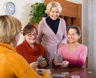 Female pensioners playing cards Royalty Free Stock Image