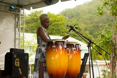 A female performer at the annual bequia music fest Stock Images