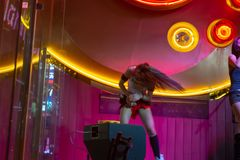 Female performer hard rock cafe stock photo
