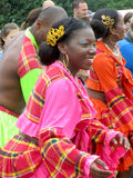 Female Performer from Martinique. AALST, BELGIUM, JULY 26 2015: Unknown performer and member of the 'Compagnie de Danse Pom'kanel' dances at a local folklore Stock Photo