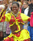 Female Performer from Martinique. AALST, BELGIUM, JULY 26 2015: Unknown performer and member of the 'Compagnie de Danse Pom'kanel' dances at a local folklore Royalty Free Stock Photography