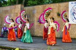 Female performer of traditional Korean dance Royalty Free Stock Image