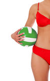 Female person in bikini holding volleyball Royalty Free Stock Images